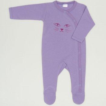 Salopeta maneca lunga si pantaloni cu botosei violet imprimeu fata de pisica