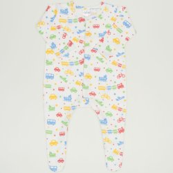 White long-sleeve sleep & play with footies with transport toys print