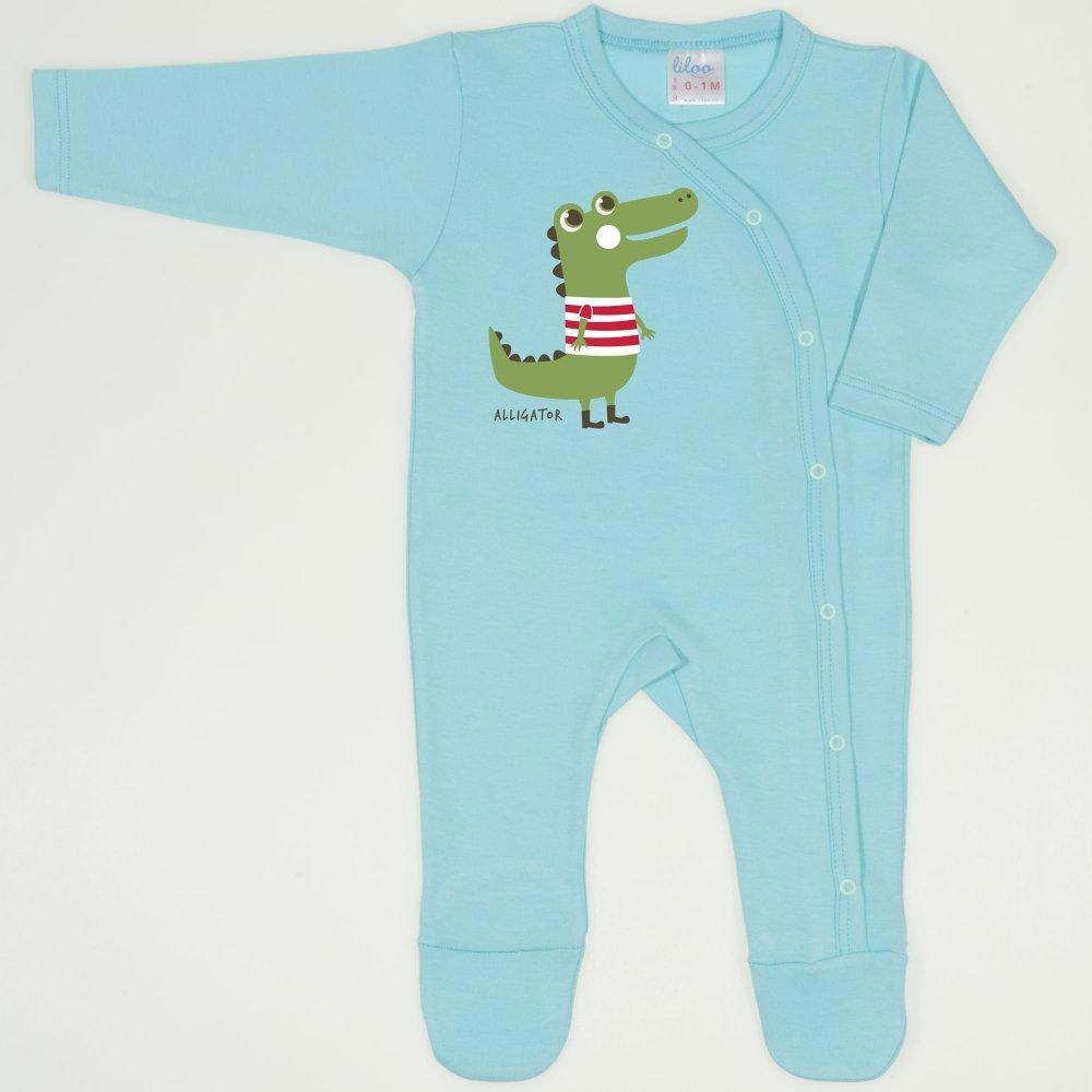 Salopeta maneca lunga si pantaloni cu botosei blue radiance imprimeu aligator | liloo