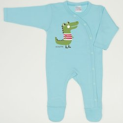 Salopeta maneca lunga si pantaloni cu botosei blue radiance imprimeu aligator