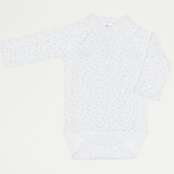 White side-snaps long-sleeve bodysuit with multicolored dots