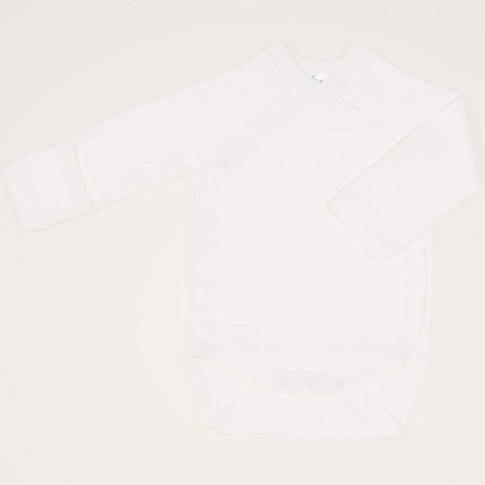 Body capse laterale maneca lunga cu manusi blanc de blanc uni   liloo