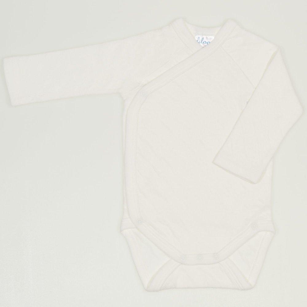 Body capse laterale maneca lunga ecru - material multistrat premium cu model | liloo
