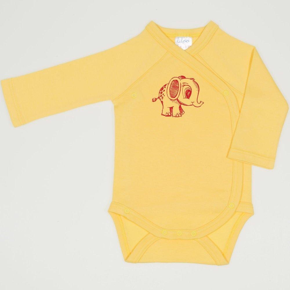 Body capse laterale maneca lunga minion yellow imprimeu elefantel | liloo