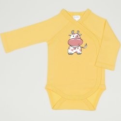 Minion yellow side-snaps long-sleeve bodysuit with cow print