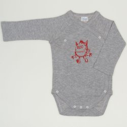 Grey side-snaps long-sleeve bodysuit with monster print