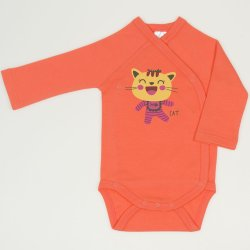 Salmon living coral side-snaps long-sleeve bodysuit with cool cat print
