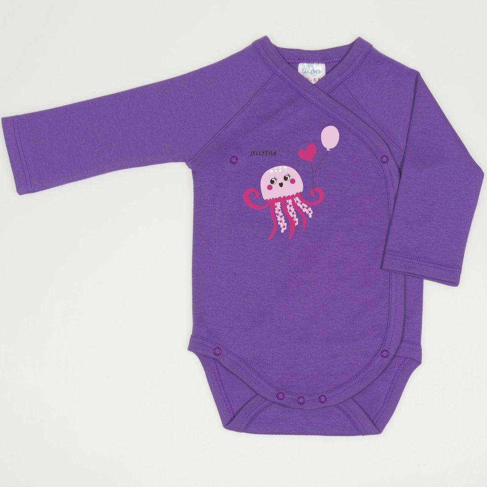 Body capse laterale maneca lunga mov deep lavender imprimeu meduza | liloo
