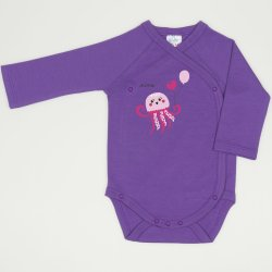 Body capse laterale maneca lunga mov deep lavender imprimeu meduza