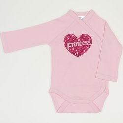 Orchid pink side-snaps long-sleeve bodysuit with princess print