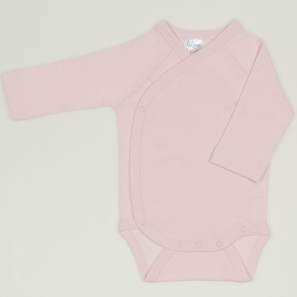 Body capse laterale maneca lunga roz pal - material multistrat premium cu model | liloo