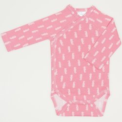 Salmone side-snaps long-sleeve bodysuit with sea ​​horses print