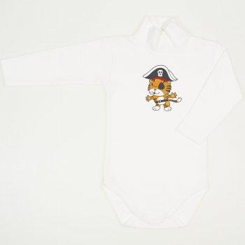 Body maneca lunga tip helanca (maleta) blanc de blanc imprimeu colorat tigrisor pirat
