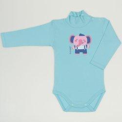 Blue radiance turtleneck bodysuit with elephant print