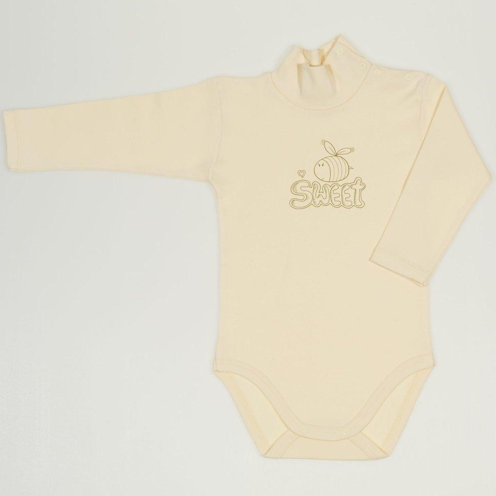 Body maneca lunga tip helanca (maleta) vanilla custard imprimeu albinuta Sweet | liloo