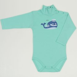 Cockatoo turtleneck bodysuit with whale print
