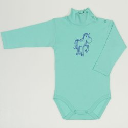 Cockatoo turtleneck bodysuit with horse print