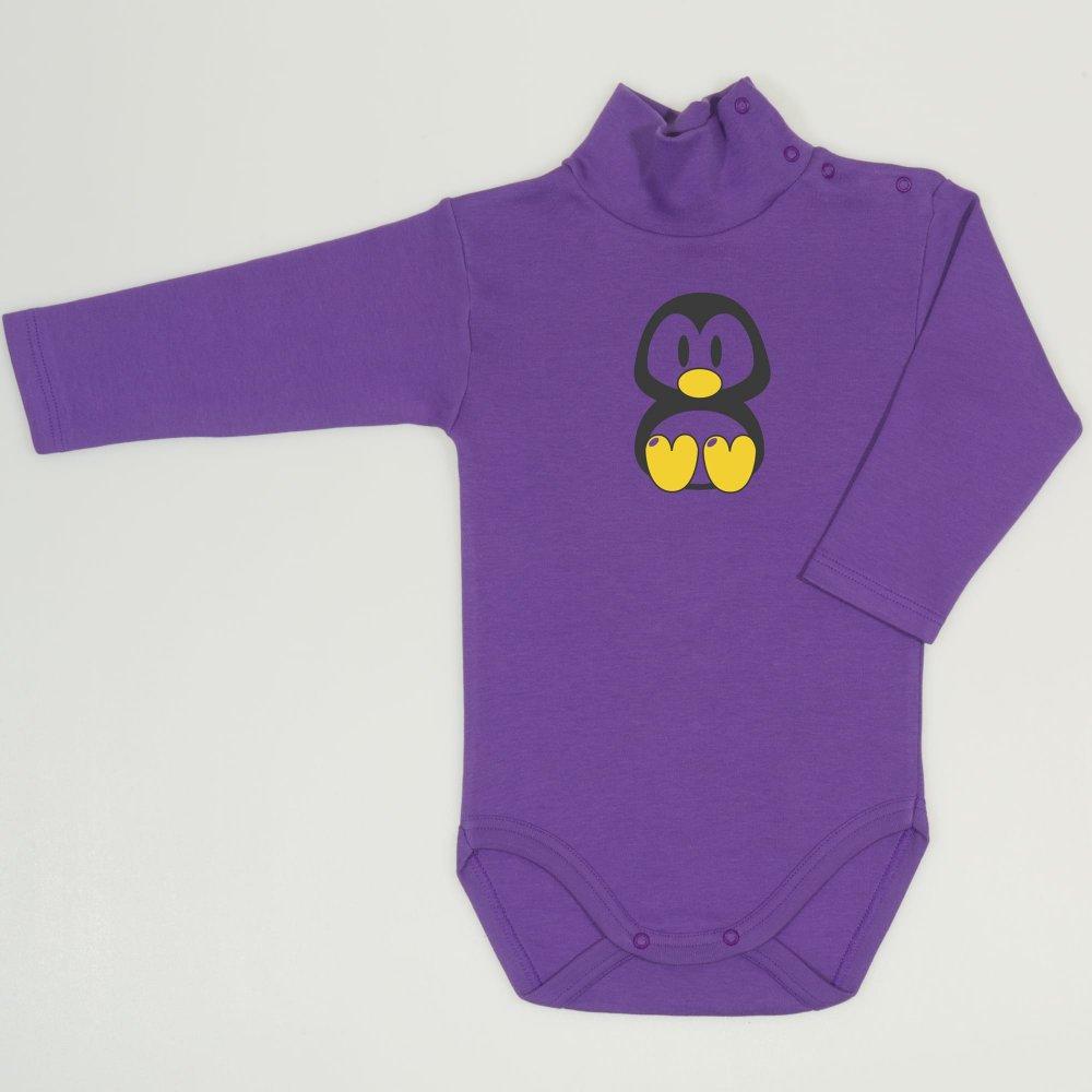 Body maneca lunga tip helanca (maleta) mov deep lavender imprimeu colorat pinguinul Tux | liloo