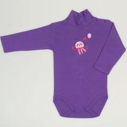 Body maneca lunga tip helanca (maleta) mov deep lavender imprimeu colorat meduza