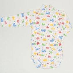 White turtleneck bodysuit with transport toys print