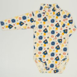 Turtleneck bodysuit with stars-rockets print