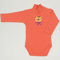 Salmon living coral turtleneck bodysuit with cool cat print