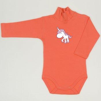 Body maneca lunga tip helanca (maleta) somon living coral imprimeu colorat unicorn | liloo