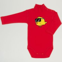 Red tomato turtleneck bodysuit with chicken with glasses print