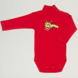 Red tomato turtleneck bodysuit with worm print
