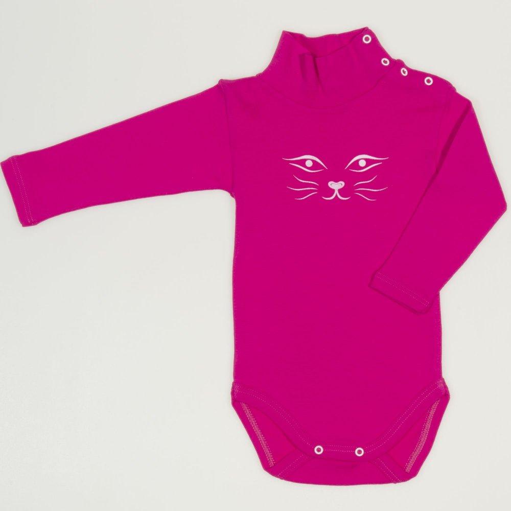 Body maneca lunga tip helanca (maleta) siclam imprimeu fata de pisica | liloo