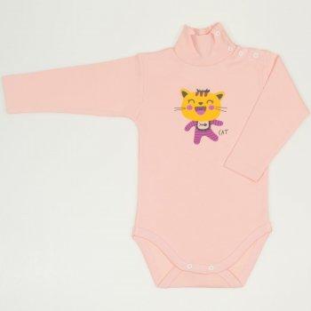 Body manecă lunga tip helanca (maleta) somon imprimeu colorat pisicuta smechera | liloo