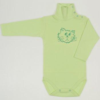 Body maneca lunga tip helanca (maleta) verde lime imprimeu cap de motan | liloo