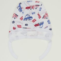 White baby bonnet with cars print