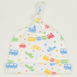 White baby hat with tassel with transport toys print