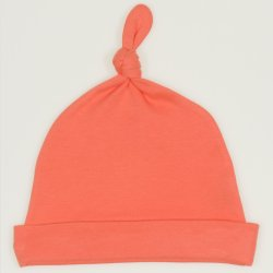 Salmon living coral baby hat with tassel