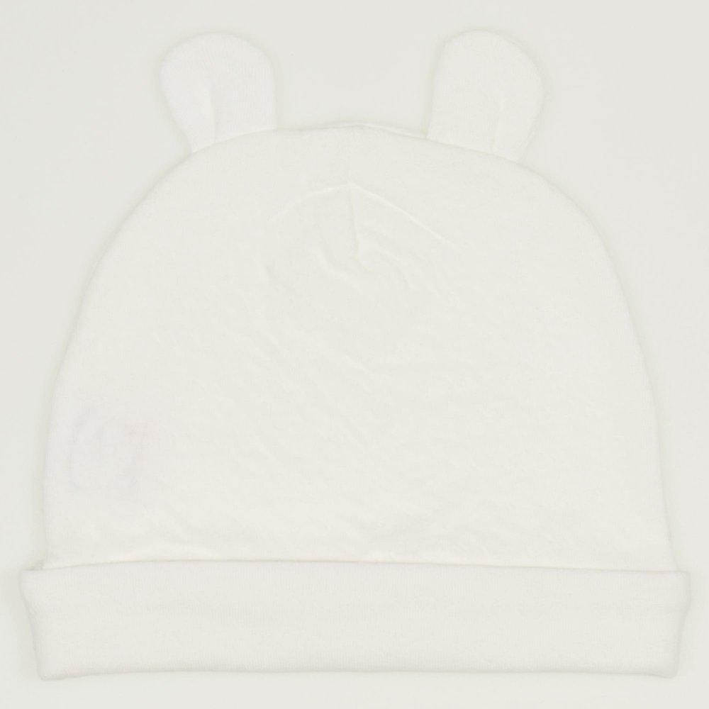Caciulita cu urechi ecru - material multistrat premium cu model | liloo