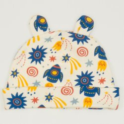 Baby hat with toy ears with stars-rockets print