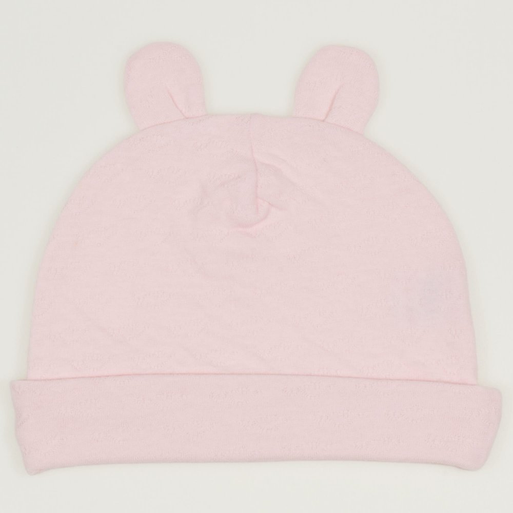 Caciulita cu urechi roz pal - material multistrat premium cu model  | liloo