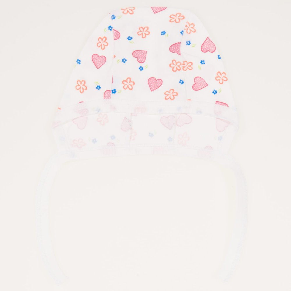 Caciulita tip boneta - alba imprimeu model floricele si inimioare | liloo