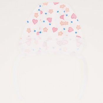 Caciulita tip boneta - alba imprimeu model floricele si inimioare