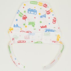 White baby bonnet  with transport toys print