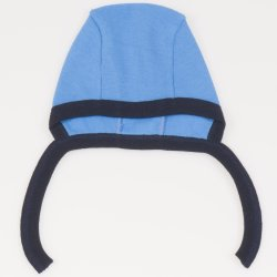 Turquoise and navy blue baby bonnet