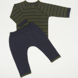 Costumas bebe 2 piese albastru inchis cu dungi kaki - material multistrat premium