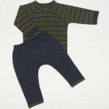 Costumas bebe 2 piese albastru inchis cu dungi kaki - material multistrat premium | liloo