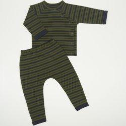 Costumas bebe albastru inchis cu dungi kaki - material multistrat premium