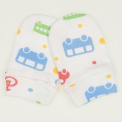 White newborn gloves with transport toys print