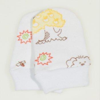 Mănuşi albe nou-născut imprimeu model animalute cu galben
