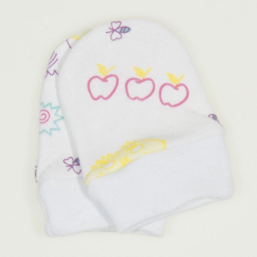 Mănuşi albe nou-născut imprimeu model animalute cu mov | liloo