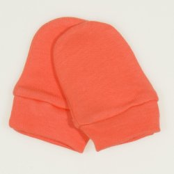 Salmon living coral newborn gloves