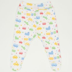 White footies with transport toys print